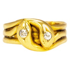 Victorian Diamond and 18 Carat Gold Double Snake