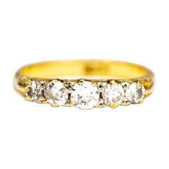 Victorian Diamond and 18 Carat Gold Five-Stone Ring