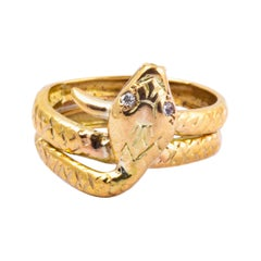 Victorian Diamond and 9 Carat Gold Snake Ring