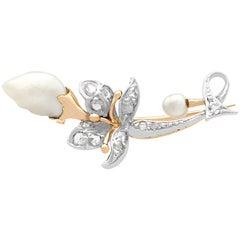 Victorian Diamond and Baroque Pearl Gold Brooch