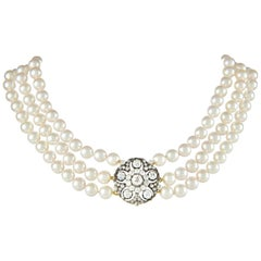 Victorian Diamond and Cultured Pearl Necklace
