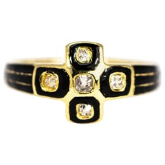 Victorian Diamond and Enamel 18 Carat Gold Ring