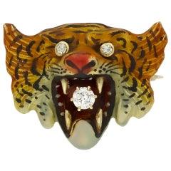 Victorian Diamond and Enamel Tiger Brooch, American, circa 1900
