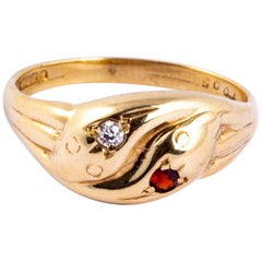 Victorian Diamond and Garnet 9 Carat Gold Double Snake
