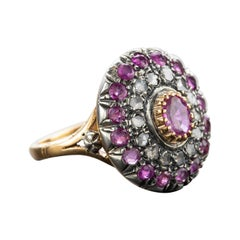 Victorian Diamond and GIA No-Heat Burma Pink Sapphire Ring