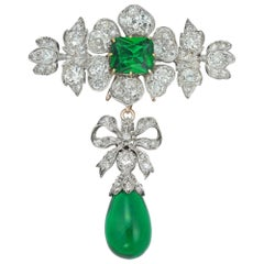 Victorian Diamond and Green-Paste Brooch