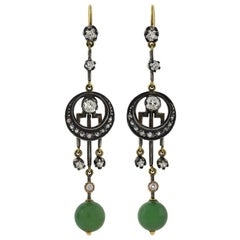 Victorian Diamond and Jade Dangle Earrings