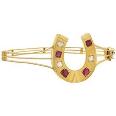 Victorian Diamond and Natural Ruby Horseshoe Bangle Bracelet