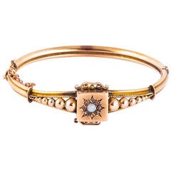 Victorian Diamond and Opal 9 Carat Gold Bangle