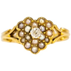 Victorian Diamond and Pearl 18 Carat Gold Heart Ring
