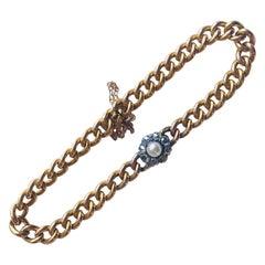 Victorian Diamond and Pearl 18 Karat Bracelet