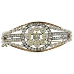 Victorian Diamond and Pearl Bracelet Set in 14 Karat Yellow Gold