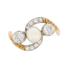 Victorian Diamond and Pearl Crossover Ring with Set Shoulders, circa 1890s