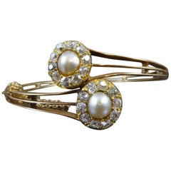 Victorian Diamond and Pearl Double Cluster Bangle
