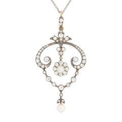 Victorian Diamond and Pearl Drop Pendant, circa 1880s