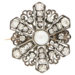 Victorian Diamond and Pearl Floral Star Brooch in Silver on Gold