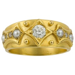 Victorian Diamond and Pearl Yellow Gold Ring