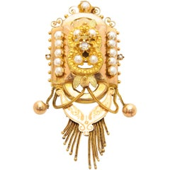 Victorian 14 Karat Gold Diamond Pearls Pendant Brooch
