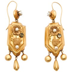 Victorian 18 Karat Yellow Gold Diamond and Pearls Dangle Earrings