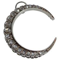 Victorian Diamond and Platinum Crescent Pendant