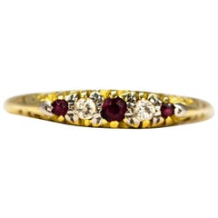 Victorian Diamond and Ruby Carat 18 Carat Gold Five-Stone Band