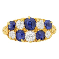 Victorian Diamond and Sapphire Cluster Ring, circa 1894