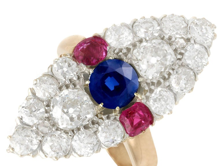 Round Cut Victorian Diamond and Sapphire Ruby and Yellow Gold Marquise Ring For Sale