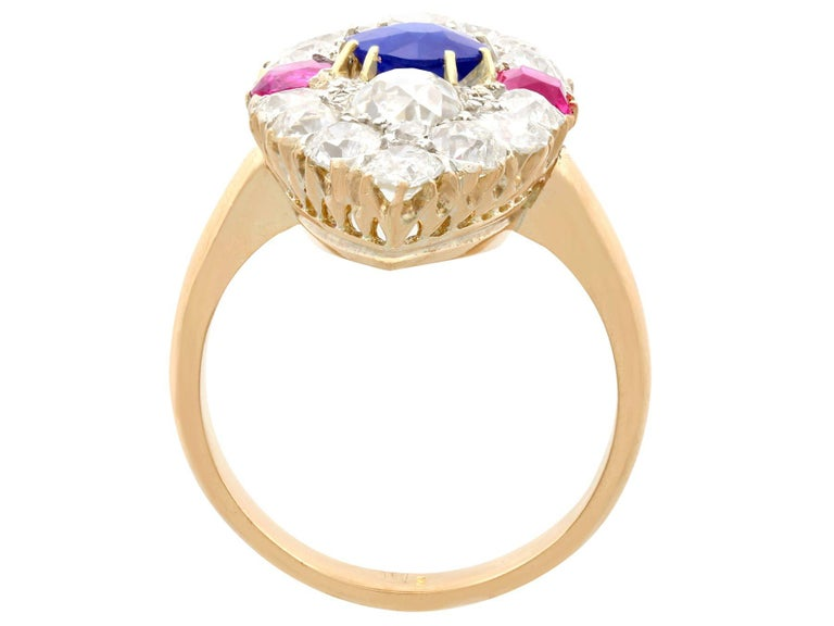 Women's Victorian Diamond and Sapphire Ruby and Yellow Gold Marquise Ring For Sale