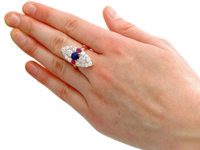 Victorian Diamond and Sapphire Ruby and Yellow Gold Marquise Ring For Sale 1