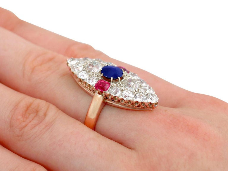 Victorian Diamond and Sapphire Ruby and Yellow Gold Marquise Ring For Sale 2