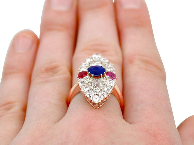 Victorian Diamond and Sapphire Ruby and Yellow Gold Marquise Ring For Sale 3