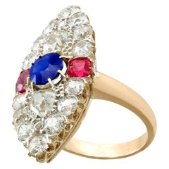 Victorian Diamond and Sapphire, Ruby and Yellow Gold Marquise Ring