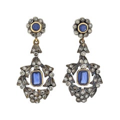 Victorian Diamond and Sapphire Wreath Dangle Earrings