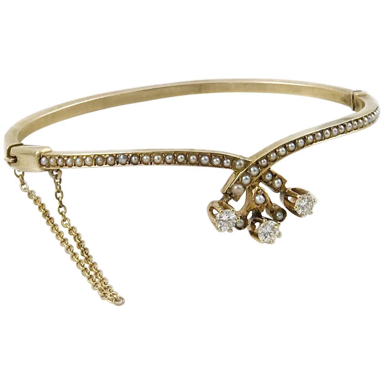 Victorian Diamond and Seed Pearl Bangle Bracelet, 0.51 Carat
