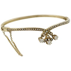 Victorian Diamond and Seed Pearl Bangle Bracelet, 0.51 Carat