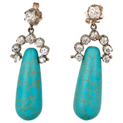 Victorian Diamond and Turquoise Earrings