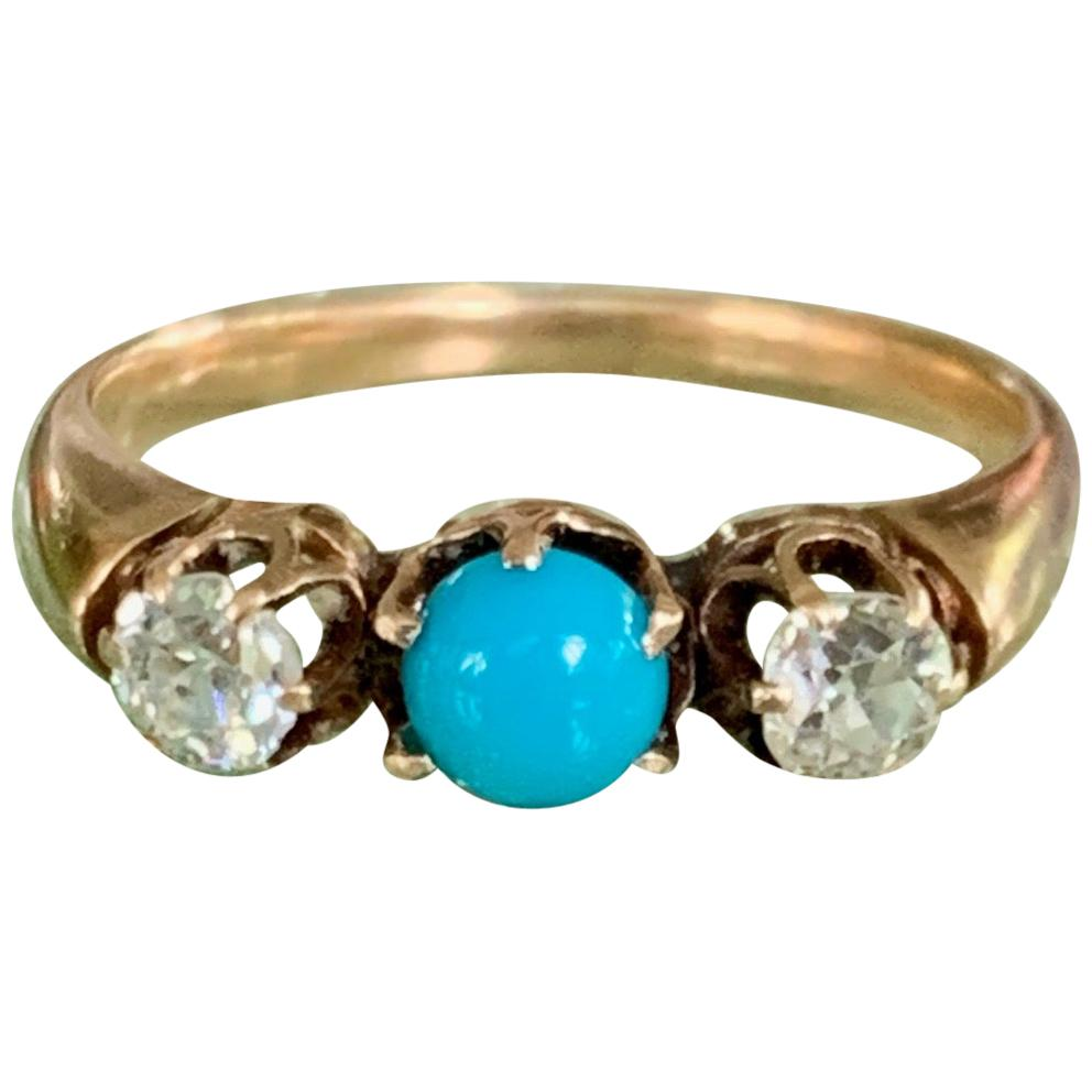 Victorian Diamond and Turquoise Prong-Set 14 Karat Yellow Gold Ring - Size 9