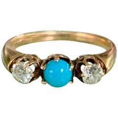 Victorian Diamond and Turquoise Prong Set 14 Karat Yellow Gold Ring