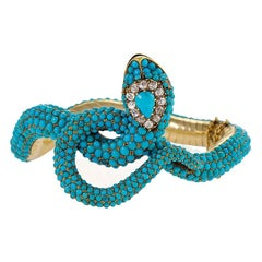 Victorian Diamond and Turquoise Snake Bangle Bracelet