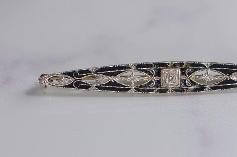 Women's Victorian Diamond Black Enamel Filigree Brooch Pin For Sale