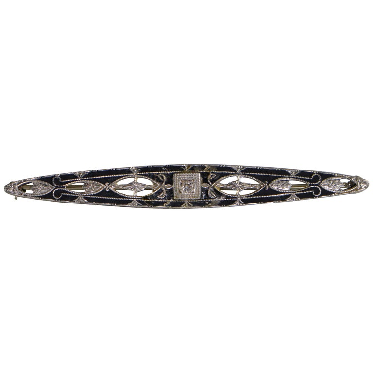 Victorian Diamond Black Enamel Filigree Brooch Pin For Sale