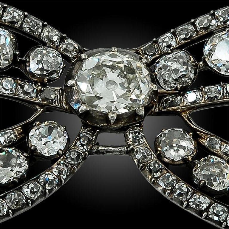 Women's or Men's Victorian Diamond Bow Brooch For Sale