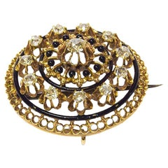Victorian Diamond Brooch 14 Karat Yellow Gold