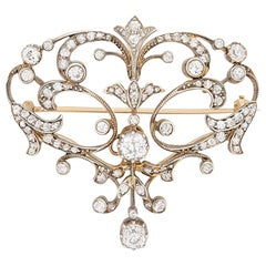 Victorian Diamond Brooch, circa 1880s