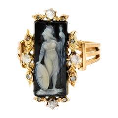 Victorian Diamond Carved Onyx Agate 18 Karat Gold Athena Ring