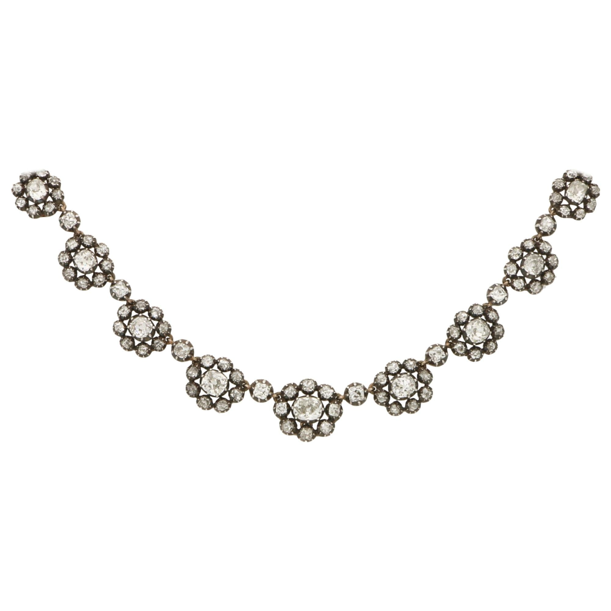 Victorian Diamond Choker Necklace in Silver on Gold