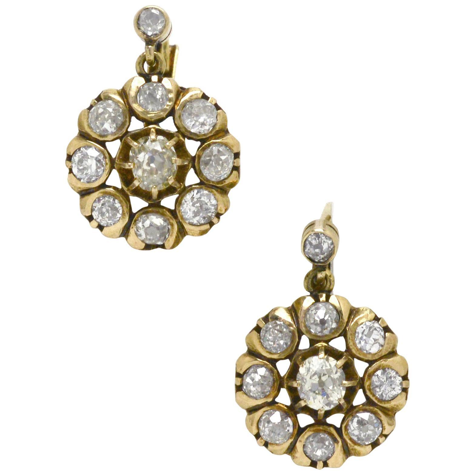 Victorian Diamond Cluster Drop Earrings 18 Karat Yellow Gold Dangle Old Mine Cut