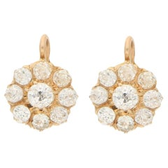 Victorian Diamond Cluster Earrings Set in Yellow Gold