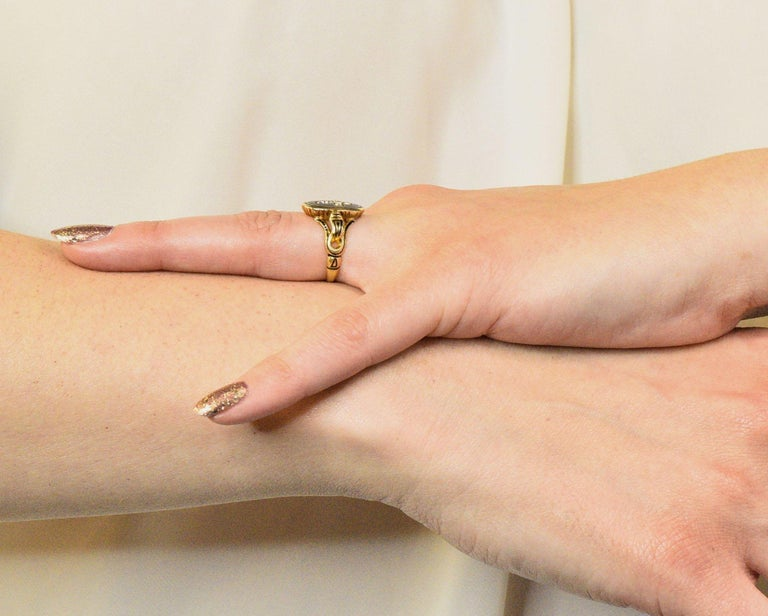 Victorian Diamond Cross 14 Karat Gold Enamel Mourning Ring For Sale 5
