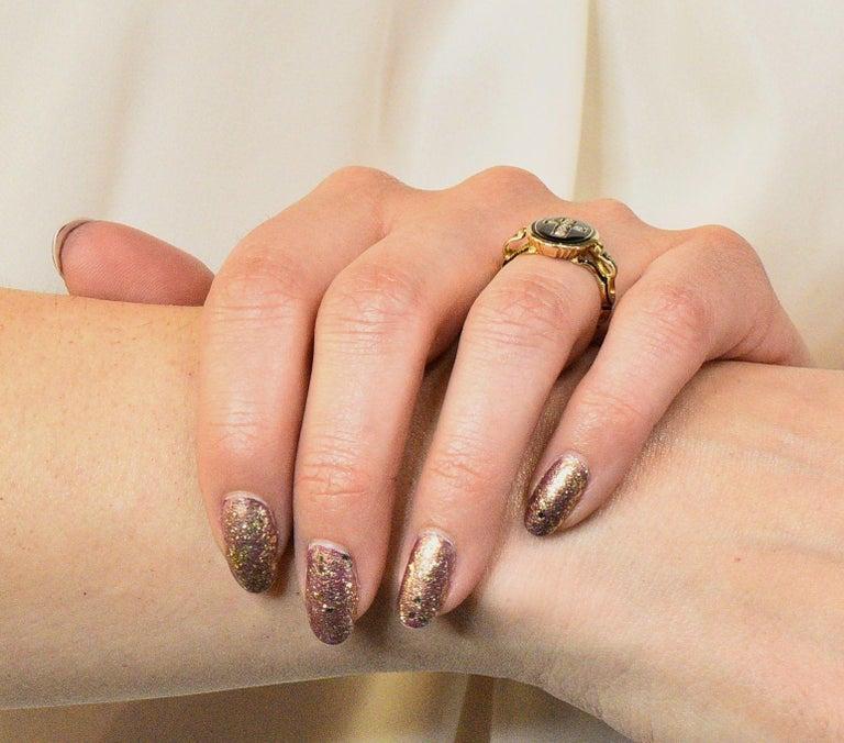 Victorian Diamond Cross 14 Karat Gold Enamel Mourning Ring For Sale 6